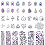 Selizo 3168pcs Rhinestones Nail Crystals Rhinestones with 30pcs Nail Metal Gems Jewels Stones for 3D Nails Art Decoration Nail Art Supplies (Color: assorted colors, Tamaño: assorted sizes)