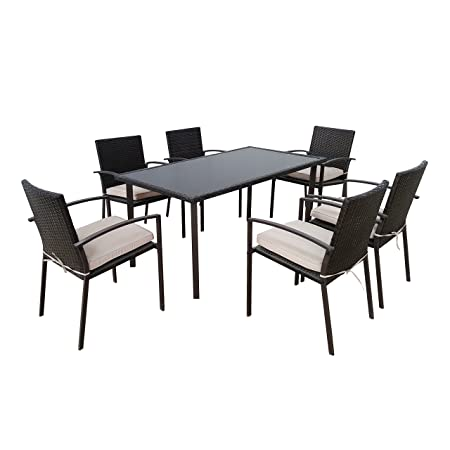 Sitzgruppe Gartenmöbel-Set aus schwarzem Polyrattan - Essgruppe 7-teilig mit einem Esstisch und 6 Gartenstuhlen - wetterfest fur Drinnen & Draußen