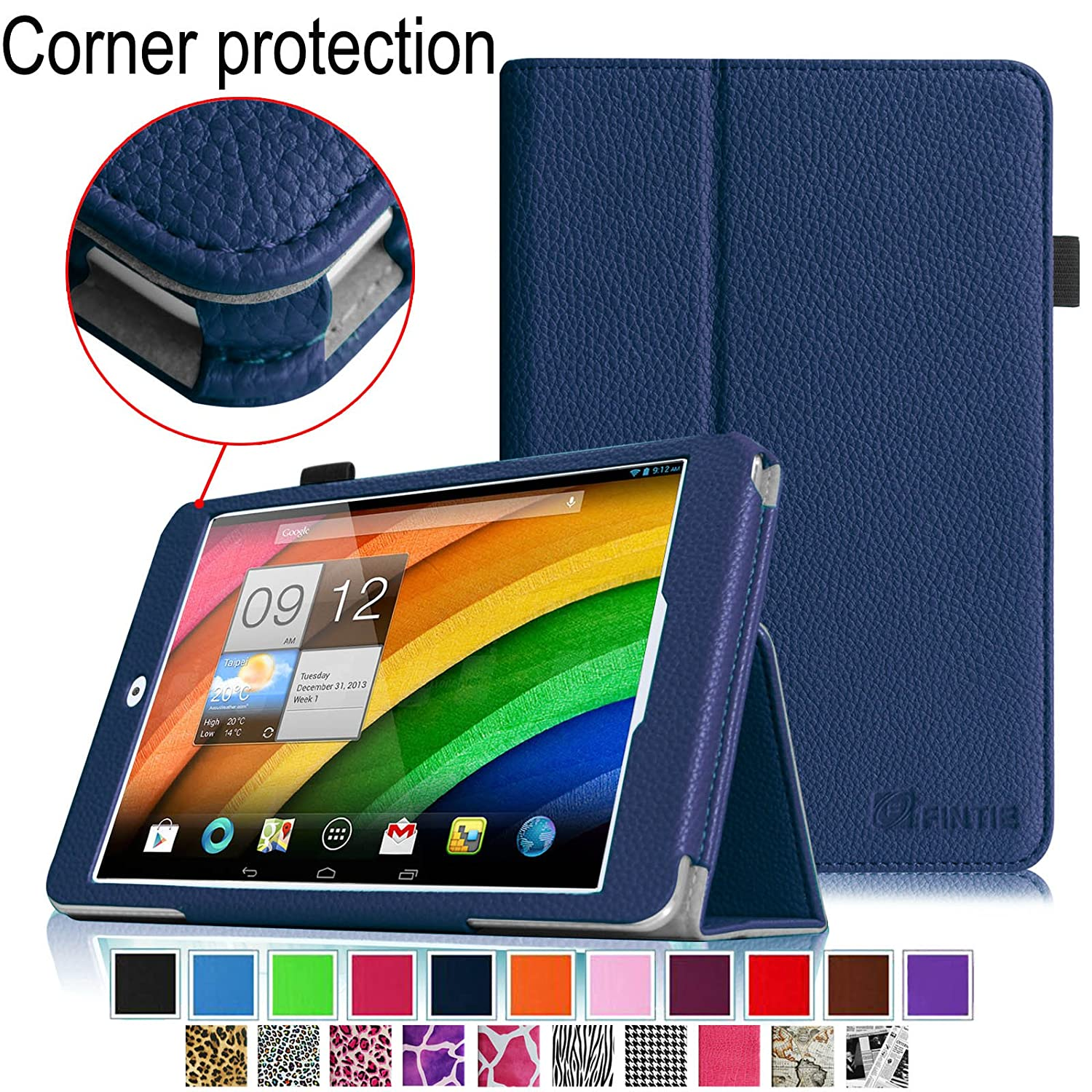 Fintie Acer Iconia Tab 8 A1-840 FHD 8-Inch Android Tablet Folio Case - Premium Leather Cover Stand With Stylus Holder slim print case for acer iconia tab 10 a3 a40 one 10 b3 a30 10 1 inch tablet pu leather case folding stand cover screen film pen