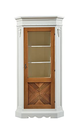 Credenza / Vetrina ad angolo in legno finitura avorio e noce grano, con anta intarsiata e vetro, 100x215
