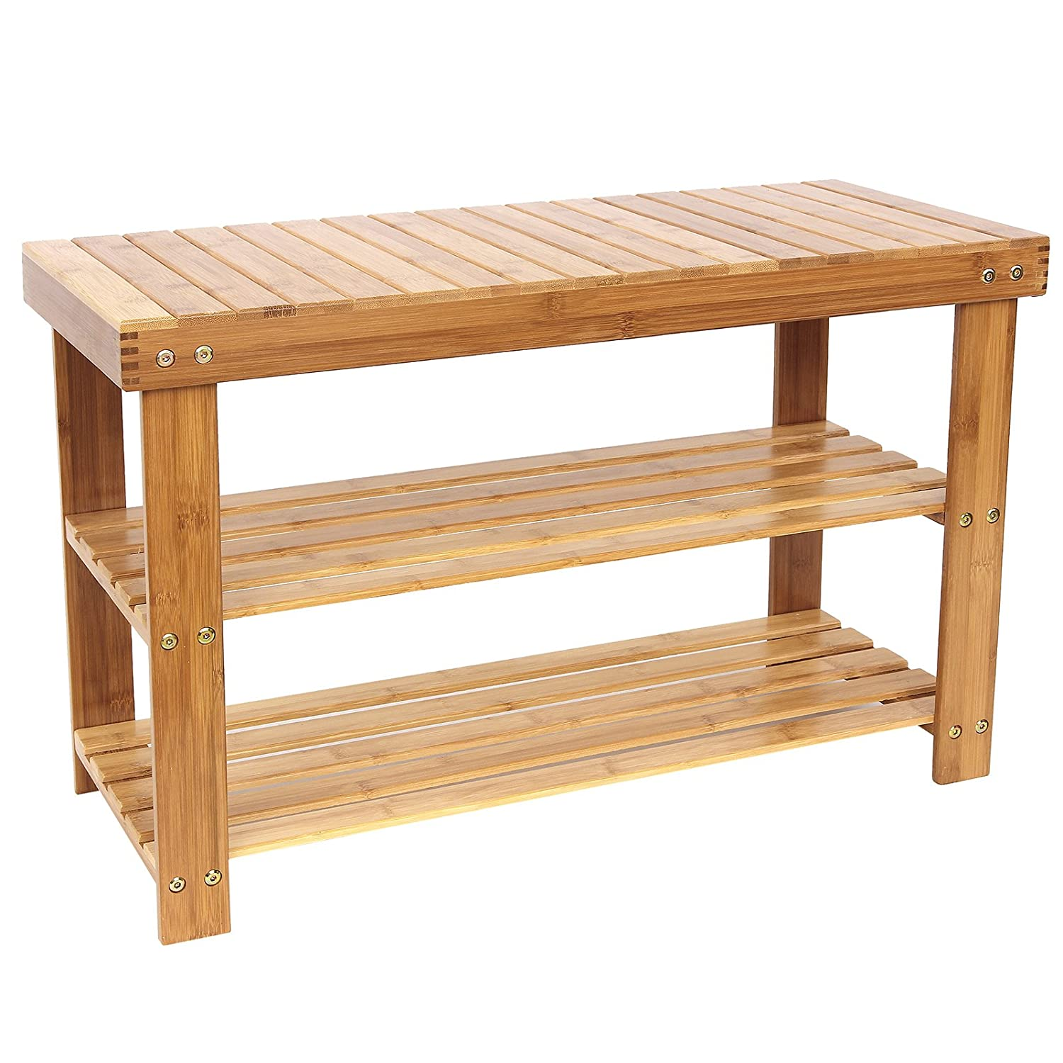 bamboo shoe bench 2 tier shoe storage racks shelf organizer ulbs04n