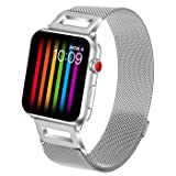 Amzelas Compatible Bands Replacement for Apple Watch Series 4 3 2 1 38mm 40mm 42mm 44mm, Milanese Loop Sport Straps with Magnetic Closure for iWatch Wristbands All Models (Silver, 38mm/40mm) (Color: Silver, Tamaño: 38mm/40mm)