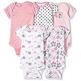 Gerber Baby Girls 5 Pack Onesies, Elephants/Flowers, 6-9 Months (Color: Elephants/Flowers, Tamaño: 6-9 Months)