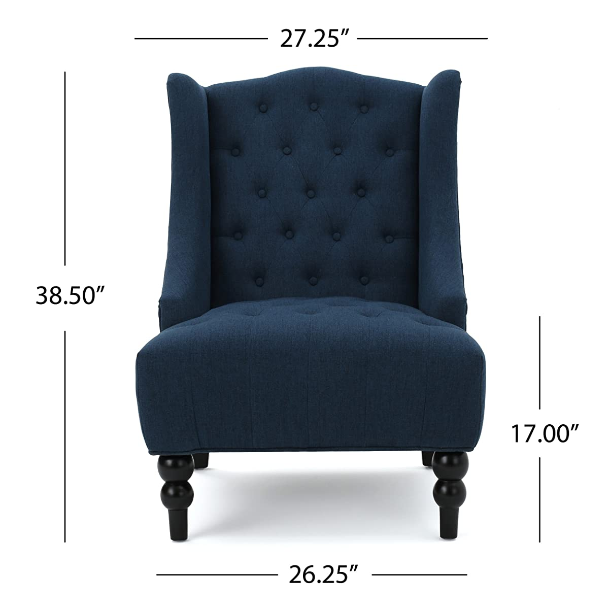 Clarice Tall Wingback Fabric Accent Chair (Dark Blue)