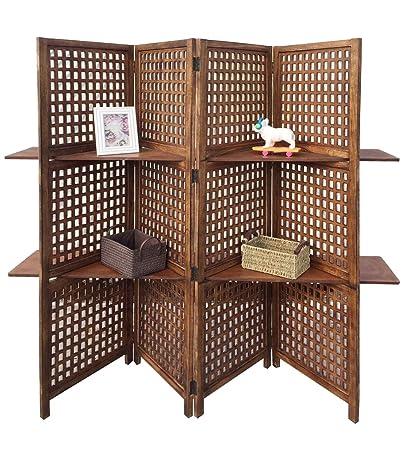 Display a 3 Vie, 4 pannelli, schermo 2 mensole-Libreria/divisorio per interni, colore: marrone chiaro