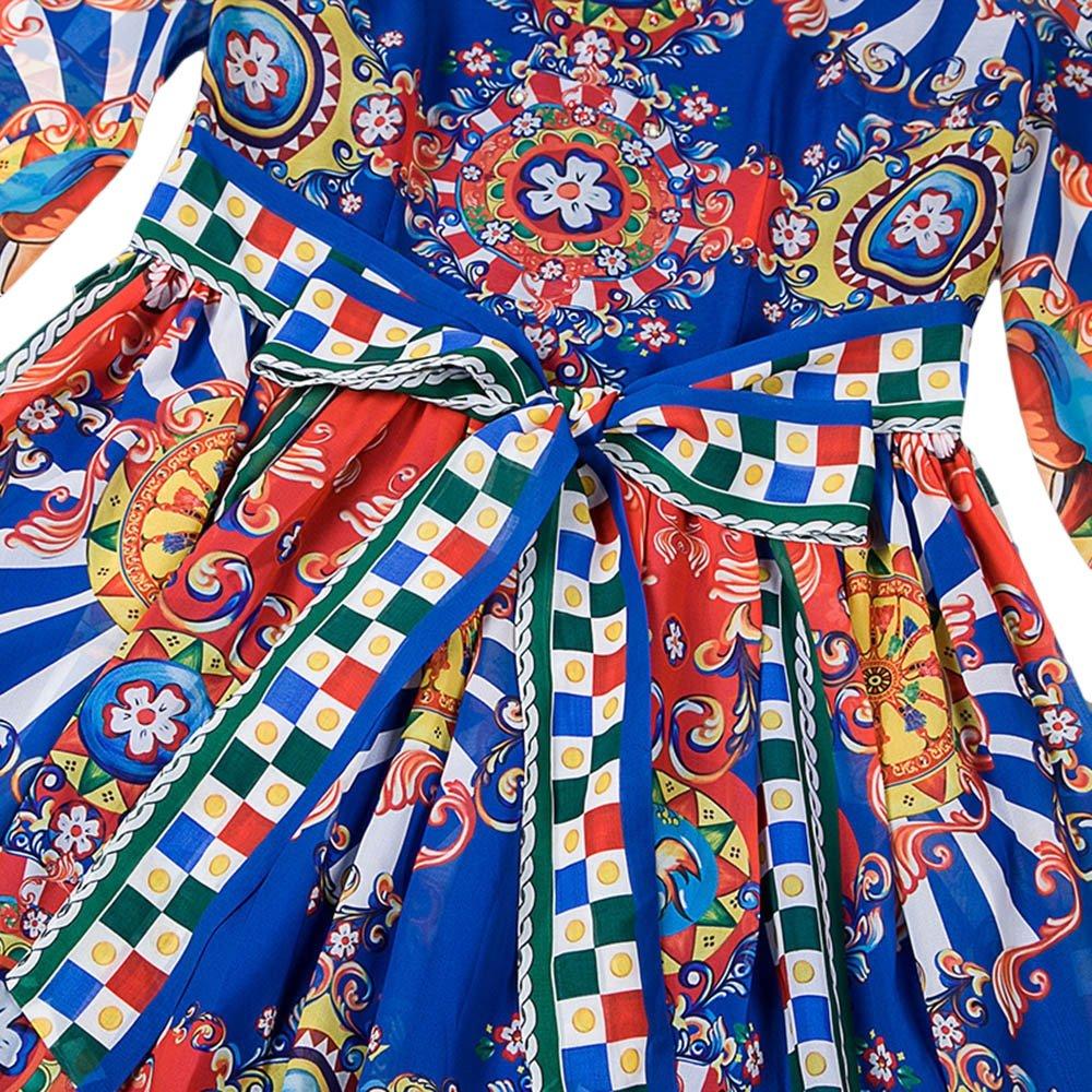 Dezzal Women's Vintage Geometric Print Cocktail Party Maxi Dress 5