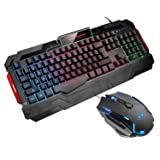 Gaming Keyboard and Mouse, MageGee USB GK806 RGB LED Backlit Keyboard and Mouse Set, 7 Colors Breathing LED Light  Mouse for PC Laptop (Color: black)