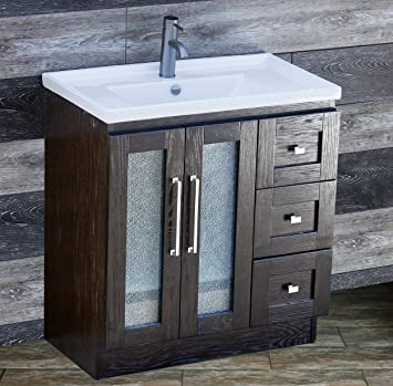 "ELIMAX'S 30"" Bathroom Vanity Solid Wood Cabinet Left Designed Ceramic Top Sink Faucet B3018.L (Espresso Oak-Unique Center)"