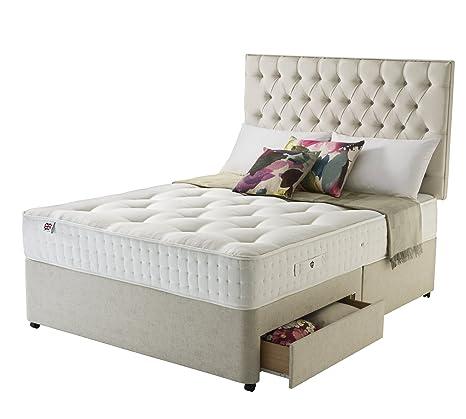 Rest Assured Eltham Natural Latex 1400 Pocket 2 Plus 2-Mini Drawer Divan Bed and Mattress - Super King, Sandstone