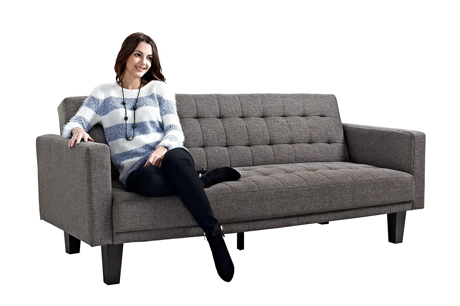 dhp sienna futon sofa couch gray bed house room furniture