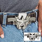 K EXCLUSIVE Double Pistol Star Belt Buckle with Lighter