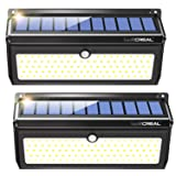 Solar Motion Sensor Lights Outdoor, LUSCREAL 100 LED Solar Lights for Outdoor Security Wall Steps Garden Patio Yard (2 Pack) (Color: Black)