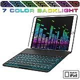 iPad Keyboard Case for New 2018 iPad, 2017 iPad, iPad Pro 9.7, iPad Air 1 and 2 – Bluetooth Backlit Detachable Quiet Keyboard – Slim Folio Cover – 7 Color Backlight (Color: Black, Tamaño: 9.7