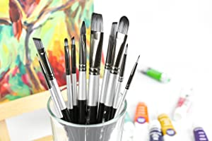 Adi/'S Art Pro Paint Brushes Set For Acrylic Oil Watercolor Artist Face And Body