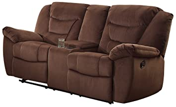 Homelegance 8556CH-2 Textured Microfiber Double Glider Reclining Love Seat with Center Console, Brown