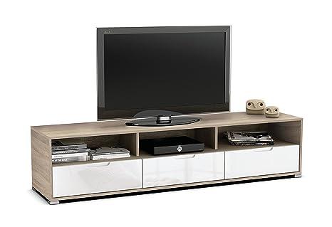 Mesa de TV módulo bajo color roble con tres cajones blancos y 3 compartimentos de salón comedor. 180cm largo x 42cm ancho x 41cm altura.