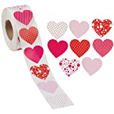 Juvale 1000-Count Heart Sticker Labels on Roll for Valentines Day, Kids, Favors, Classroom, 1.5 Inches (Color: pink, red, white, Tamaño: 3test-brizson-137)