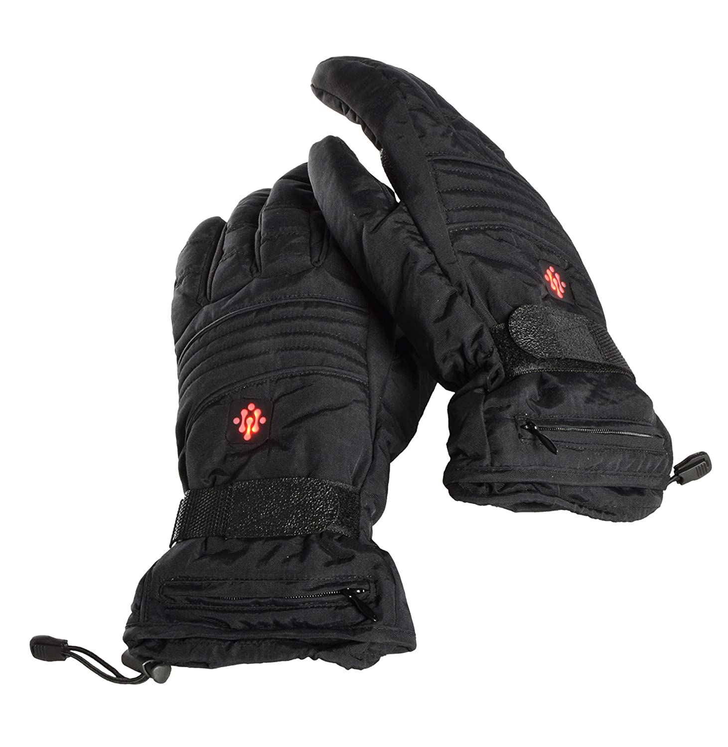 Ivation Heated Gloves, Electric Rechargeable Fleece lined with 3 LED Temperature Control Levels, Includes 2 3.7V Li-Ion Batteries for Quick & Even Heating, Adjustable Elastic & Velcro Band, Works up to 8 hours