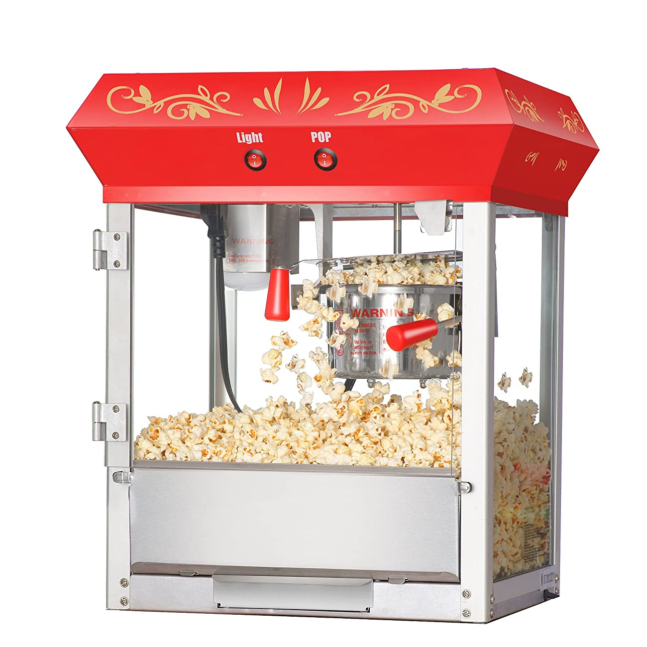 Great Northern Popcorn Red 6 oz. Ounce Foundation Vintage Style Popcorn Machine and Cart 2