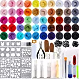 Outkitkit Needle Felting Kit, 50 Colors Wool Roving Set with Complete Wool Felt Tools Wool Yarn Supplies for Starters (Color: 50 colors)