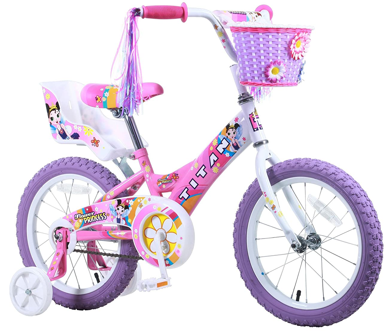 Titan Girl's Flower Princess BMX Bike, Pink, 16-Inch 0