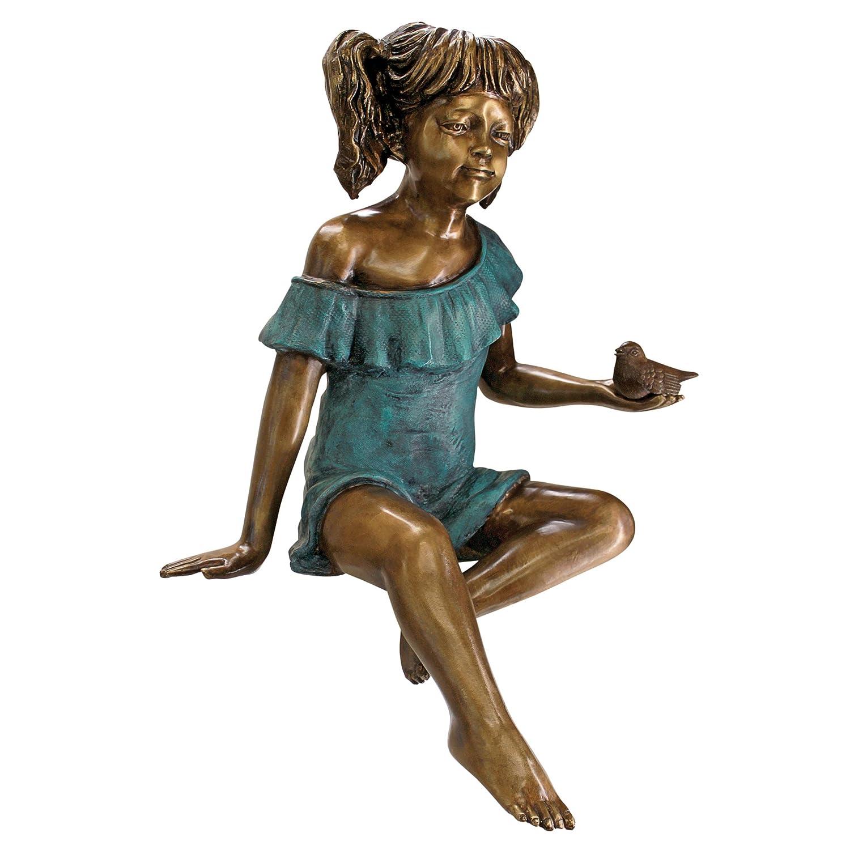 Design Toscano Bridgette With Bird, Little Girl Cast Bronze Garden Statue