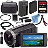Sony HDR-CX675 HDRCX675/B Full HD Handycam Camcorder with 32GB Internal Memory + Rechargable Li-Ion Battery + Charger + Sony 64GB SDXC Card + Case + Tripod + HDMI Cable + Fibercloth Bundle (Color: Advanced)