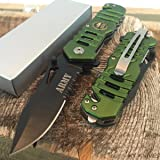 Snake Eye Tactical Rescue Style Assisted Opening Knife with Clip Camping Outdoors Hunting Camping Fishing (Army) (Color: Army)