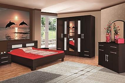 Bett AGINI Möbel Schlafzimmer modernes Design Matt Wenge (Korpus: matt wenge / Front: matt wenge)