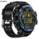 LEMFO LF21 Smart Watch Outdoor Sport Men Alloy Case with Silicone Strap Waterproof 5ATM with Heart Rate Monitor Pedometer Alarm Backlight Bluetooth 4.0 290mah Battery for Android IOS Blue