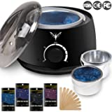 Ejiubas Wax Warmer Electrict Hair Removal Waxing Kit Filterable Black Rapid Melt Wax Heater With 4 Flavors Hard Wax Beans 10 Wax Applicator Sticks Women Men Home Waxing Spa for Face Arm Bikini Legs (Color: A- Hair Wax Warmer)