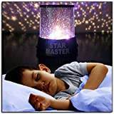 Allytech LED Star Light Projector Colorful Twilight Romantic Sky Star Master Projector Lamp Starry LED Night Light Kids Bedroom Bed Light Children's Gift (Color: Black)