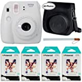 Fujifilm Instax Mini 9 Instant Camera (Smokey White), Groovy Case and 4X Twin Pack Instant Film (80 Sheets) Bundle (Color: Smokey White, Tamaño: 80 Prints)