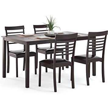 CorLiving DKR-899-Z1 5-Piece Dark Cocoa Dining Set with Ladder Back Chairs