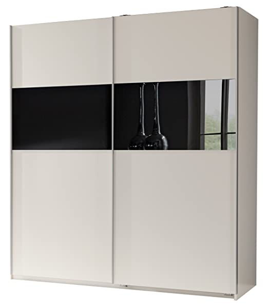 Wimex 128771 Schwebeturenschrank 198 x 180 x 64 cm, Front und Korpus alpinweiß, Absetzungen Glas schwarz