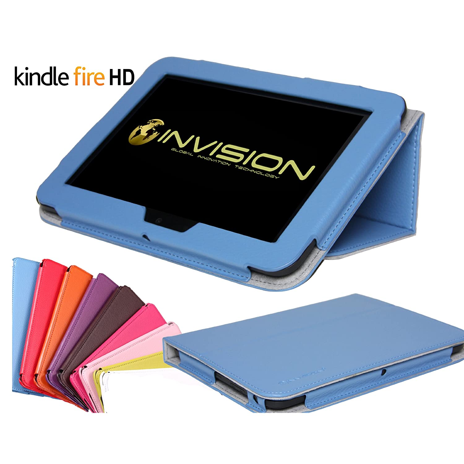 Invision Kindle Fire HD compact Case Full Grade leather (PU) with Smooth Micro-Fibre Inner Lining - WITH BUILT IN AUTO WAKE / SLEEP FUNCTION & MAGNETIC SECURE CLOSE FRONT COVER