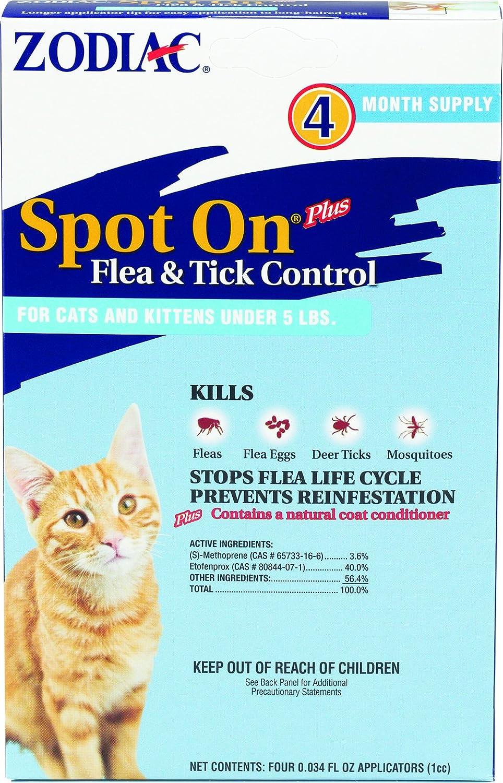 FARNAM PET 100505297 ZODIAC SPOT ON PLUS FOR CATS UNDER 5#/4/pack zodiac bookmarks zodiac glass napkin 12 piece pack