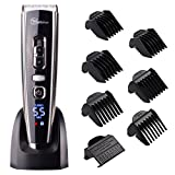 Cordless Clippers Hair Clippers for Men Hair Cutting Machine with Titanium Ceramic Blade,LED Display, Lithium Battery,Charger Stand,USB Rechargeable #Hatteker RFC-6618 (Color: Black)