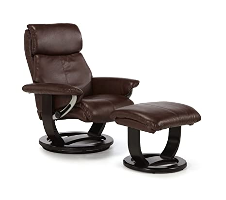 Harstad Bonded Leather Swivel and Recliner Chair With Dark Brown Base