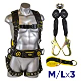 Guardian Fall Protection 21030 Cyclone Construction Harness + Twin Leg Web 6ft SRL with Steel Rebar Hook Ends + Web 3 ft Anchor Sling with 2 D-rings & 3