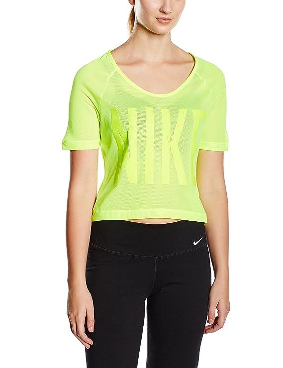 Nike Women's GRX Mesh Crop Training Top-Volt