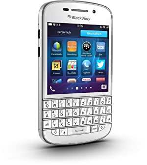 Blackberry Q10 Smartphone (7,9 cm (3,1 Zoll) AMOLED, Cortex-A9, Dual-Core, 1,5GHz, 2GB RAM, 16GB, 8 Megapixel Kamera, QWERTZ, BlackBerry 10 OS) weiß