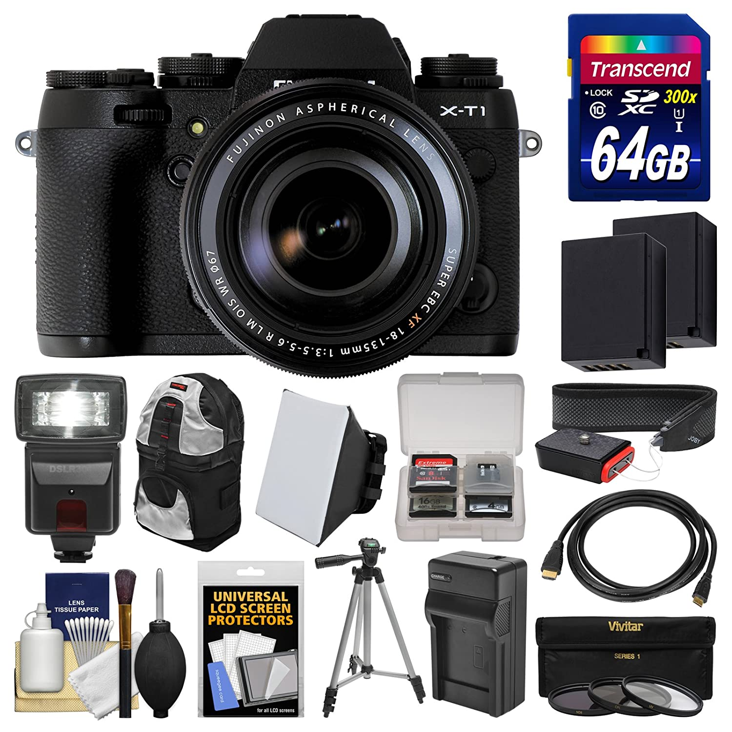Fujifilm X-T1 Weather Resistant Digital Camera & 18-135mm XF Lens with 64GB Card + Case + Flash + Batteries & Charger + Tripod + Kit
