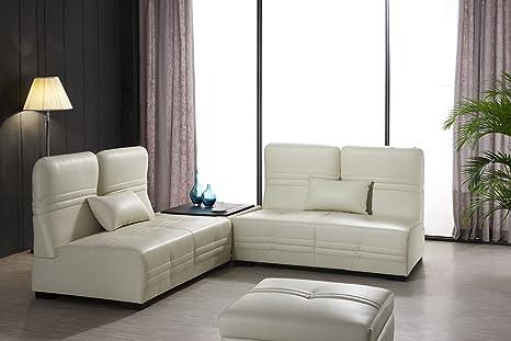 Designer Lederfaserstoff Garnitur Laura Beige Sofa Couchtisch Bettfunktion Ottomane Bett 9 in 1 Eckcouch Ecksofa Sofa Couch