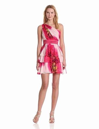 maxandcleo Women's One Shoulder Tiered Chiffon Dress, Lollipop, 6