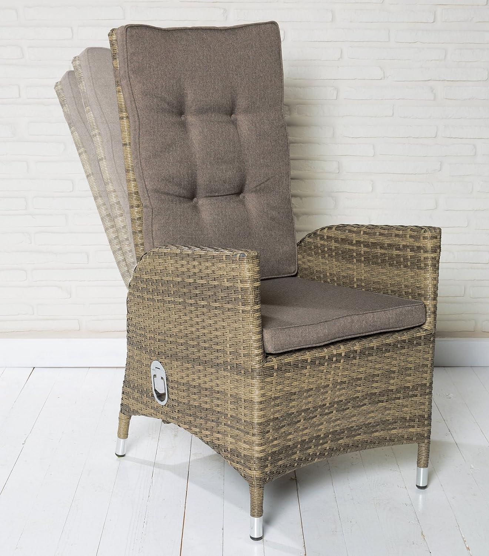 6 Polyrattan Gartensessel Luxus Rocking Chair champagne Monte-Carlo Gartenstuhl jetzt kaufen