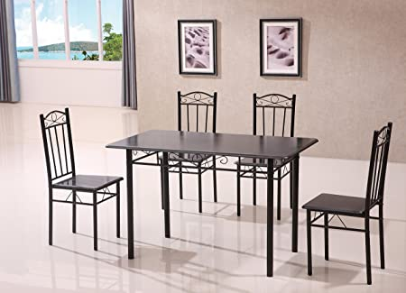 Esstisch mit 4Stuhlen, 5-teiliges Set, Schwarz
