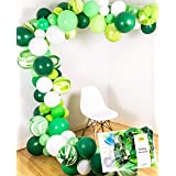Green Balloon Garland Agate Mix 16 feet Party Arch Decoration Kit, 120 Balloons and Tape, Glue, String, Instruction, Zoo Jungle Forrest WiId One Birthday, Baby Shower, Garden Wedding (Forrest Green) (Color: Garland Forrest Green)