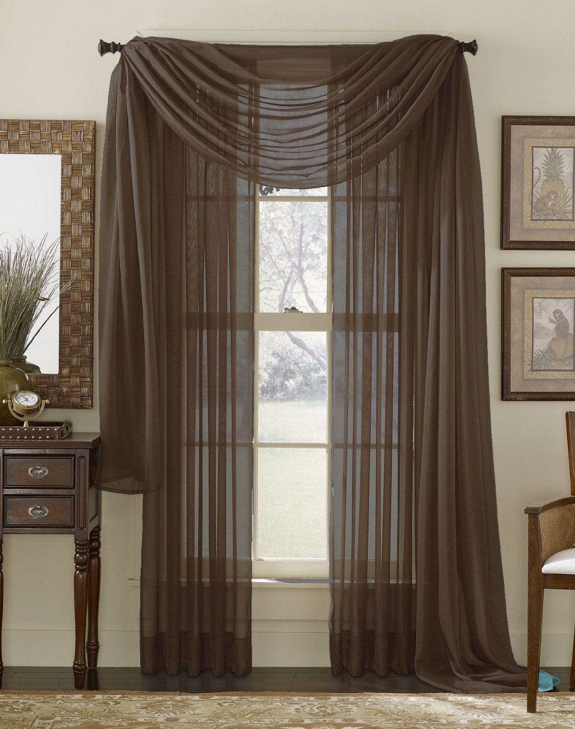 HLC.ME Voile Sheer Curtain Coffee Chocolate Brown 216 In. Scarf at Sears.com