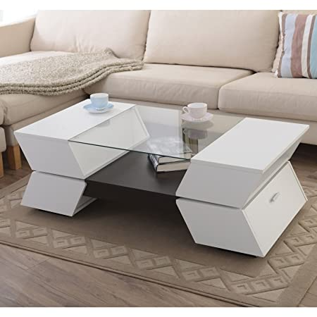 Metro Shop Furniture of America Anjin Enzo Contemporary Two-tone Multi-storage Coffee Table